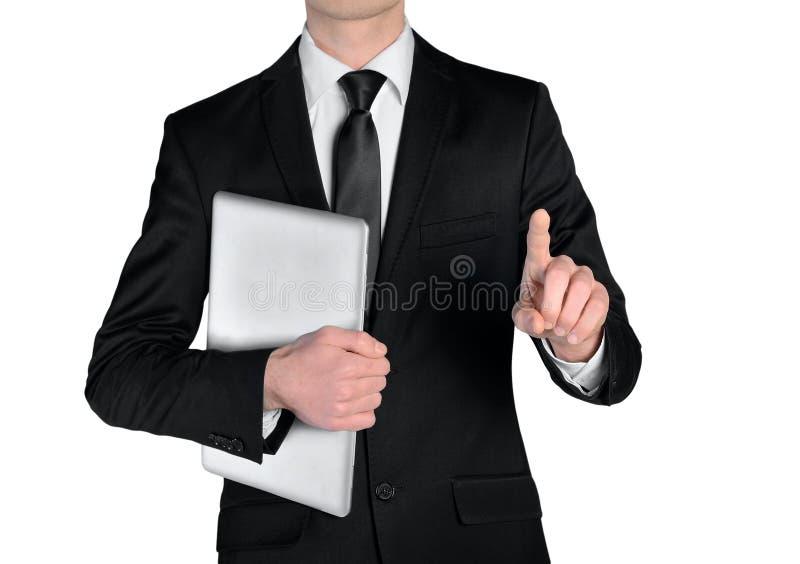 Imprensa do homem de negócio algo imagem de stock