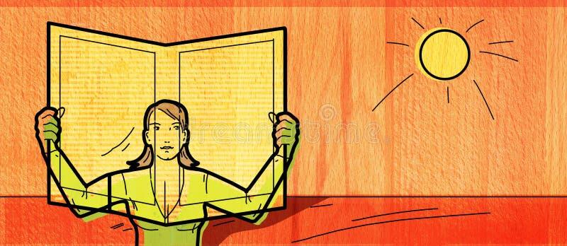 Imprensa fresca Uma mulher na natureza lê um jornal Na perspectiva da textura de madeira ilustração do vetor