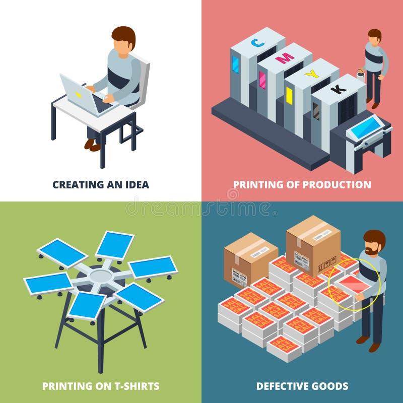 Imprenta isométrica El chorro de tinta digital compensado coloreado laser del trazador de la copiadora de la impresora trabaja a  libre illustration