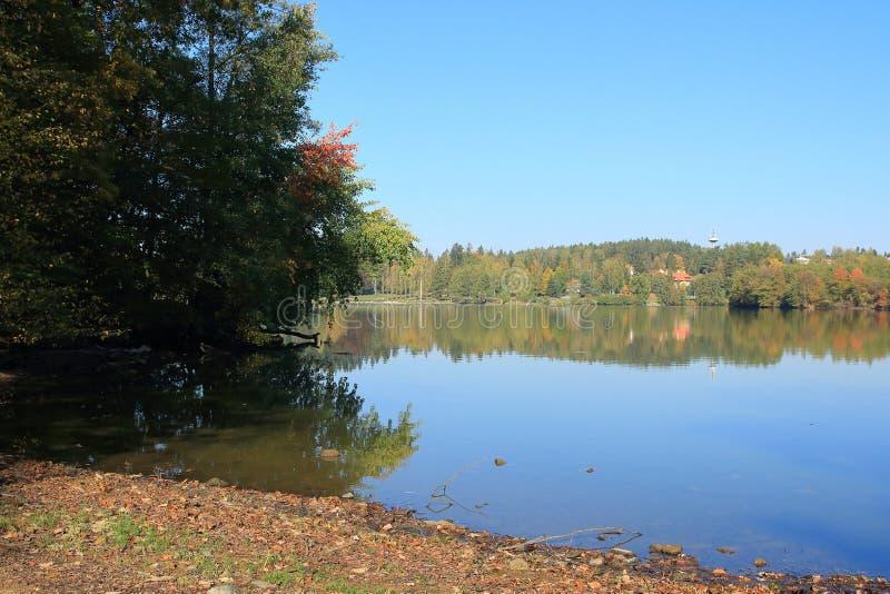 Impresa di piscicoltura Jevany, repubblica Ceca fotografie stock