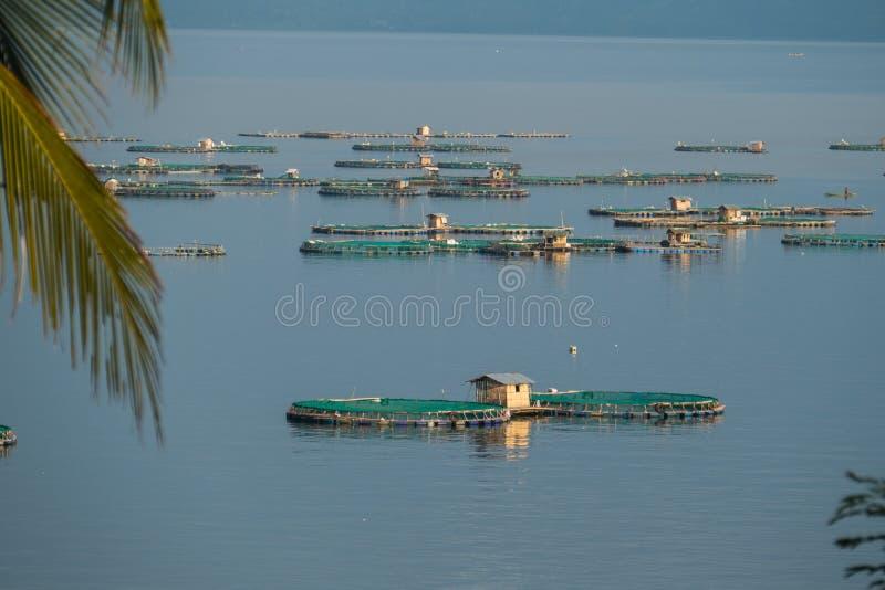 Impresa di piscicoltura sul lago Taal immagine stock