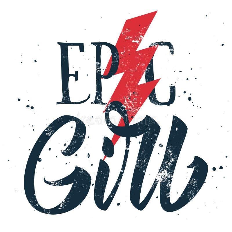 Impresión épica de la muchacha para la camiseta stock de ilustración