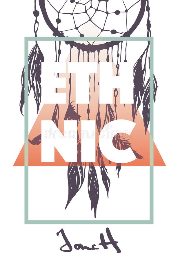 Impresión étnica con lema stock de ilustración