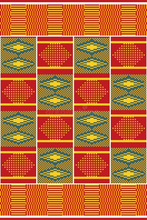 Impresión africana Kente del paño Modelo inconsútil stock de ilustración