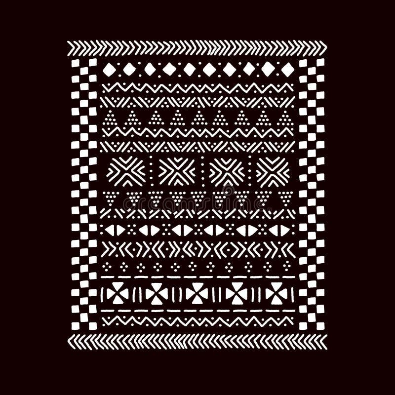 Impresión africana tradicional blanco y negro de la tela del mudcloth, vector stock de ilustración