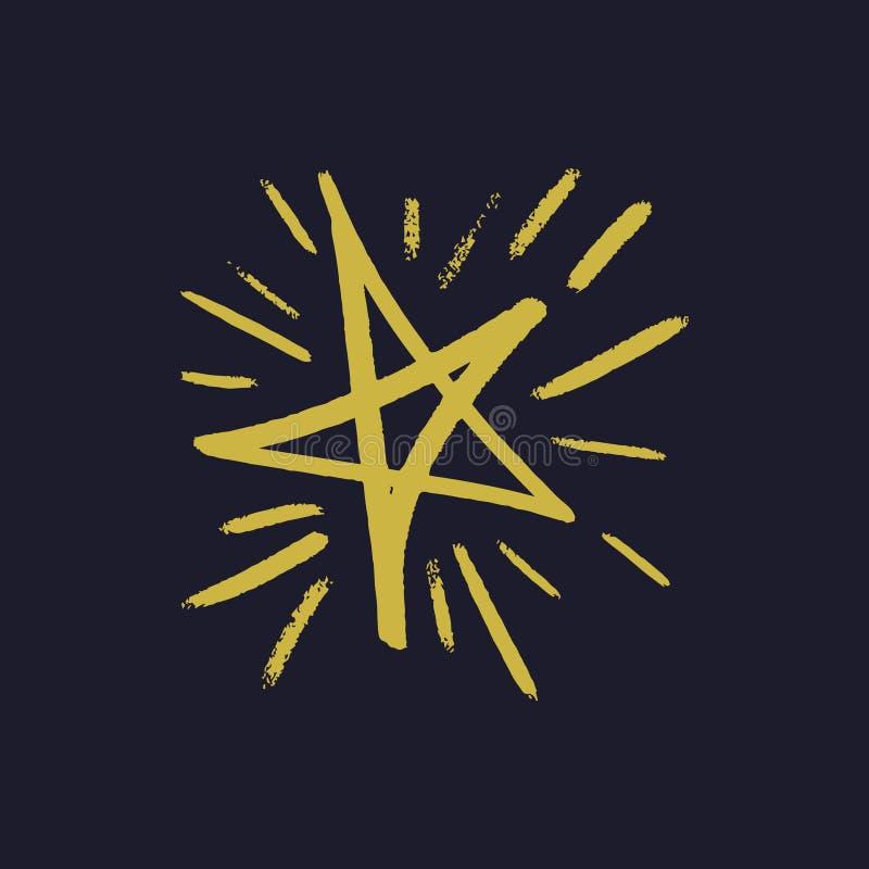 Impresión amarilla dibujada mano simple de la estrella del cepillo stock de ilustración