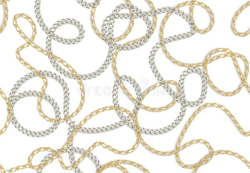 Impresión barroca inconsútil con las cadenas realistas de oro, correas para el diseño de la tela Modelo incons?til del vector stock de ilustración