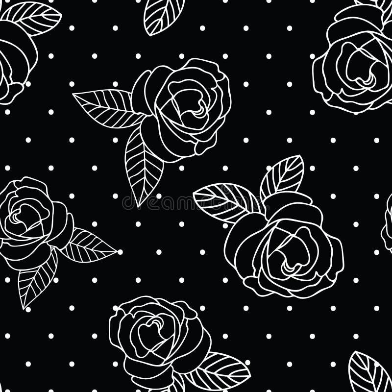 Impresión blanco y negro de la rosa del vintage de la repetición inconsútil del vector con un fondo del punto ilustración del vector