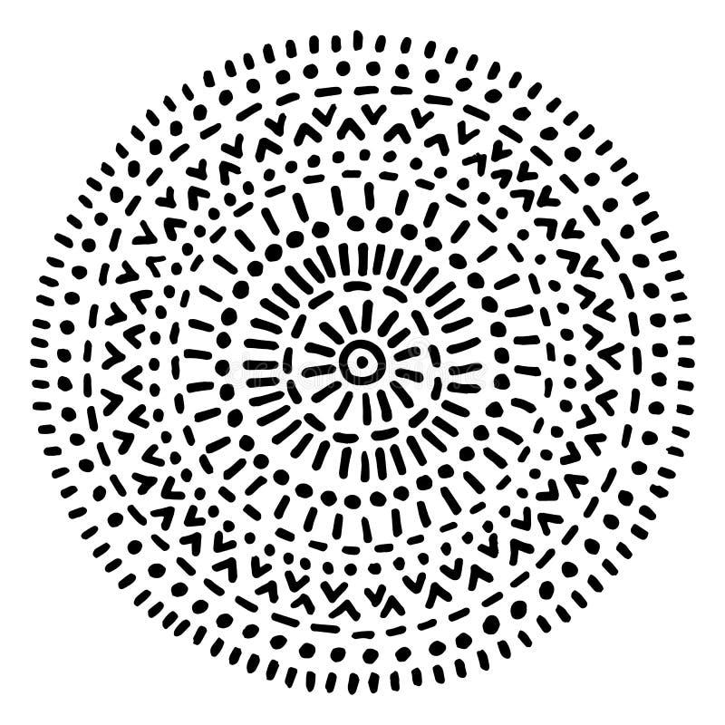 Impresión blanco y negro redonda para una toalla de playa Ornamento circular geométrico simple a mano Ornamento del garabato Ilus stock de ilustración