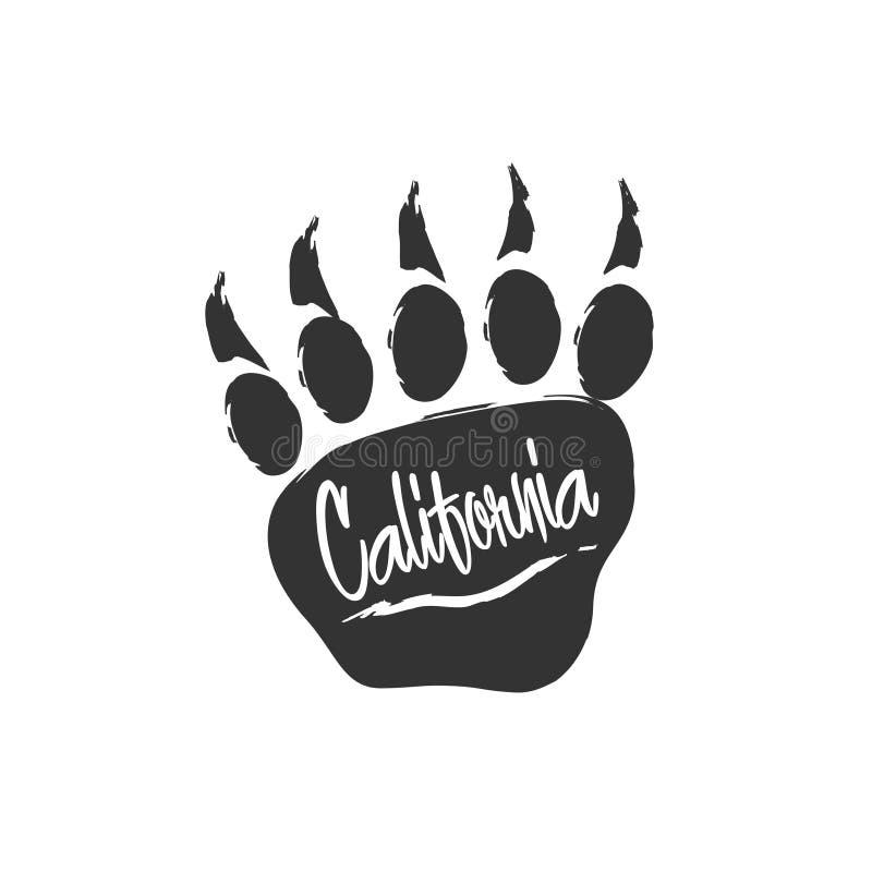 Impresión californiana de la pata de oso Huella del oso con las letras y el rasguño Sello para la ropa, camiseta, materia textil ilustración del vector