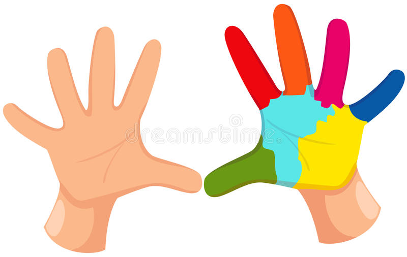 Impresión colorida de la mano stock de ilustración