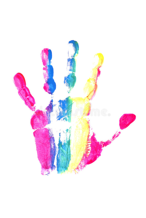 Impresión colorida de la mano fotos de archivo