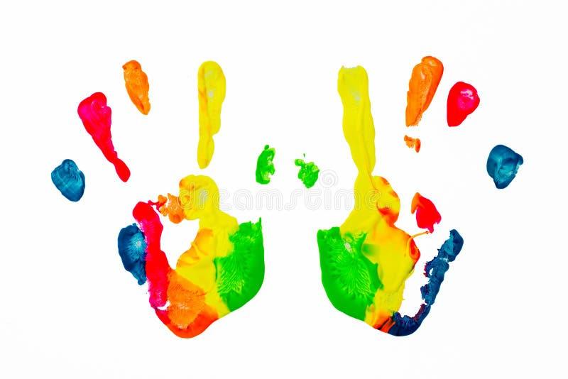 Impresión colorida de la mano de la pintura foto de archivo