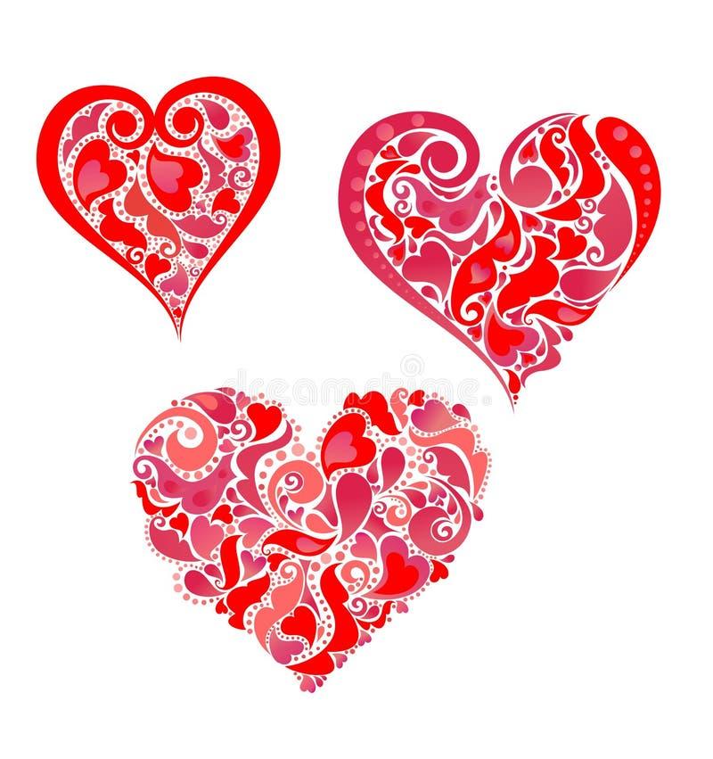 Impresión con formas rojas del corazón ilustración del vector