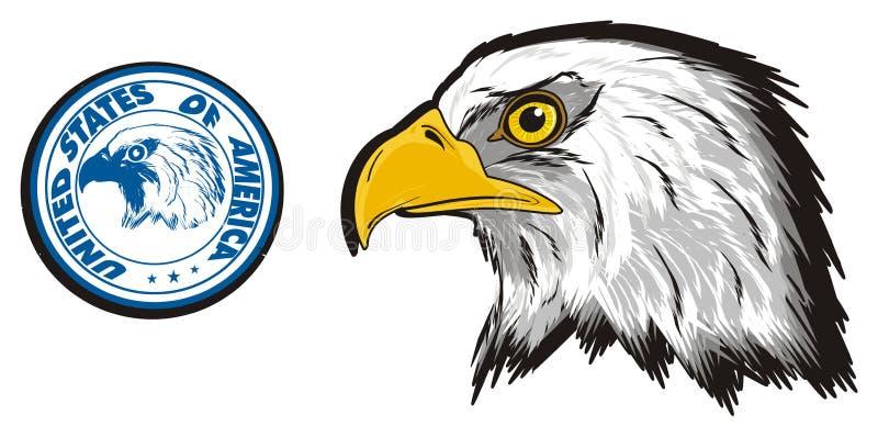 Impresión con la cabeza del águila stock de ilustración