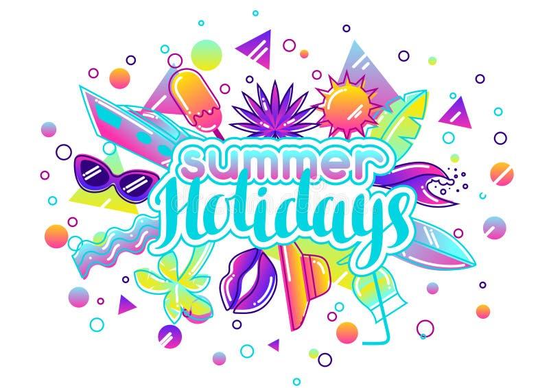 Impresión con los objetos estilizados del verano Ejemplo abstracto en color vibrante stock de ilustración