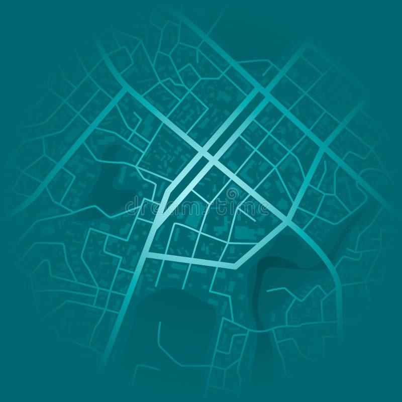 Impresión con topografía de la ciudad Mapa azul abstracto de la ciudad Esquema del distrito residencial de la ciudad Plan del dis ilustración del vector