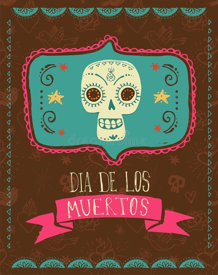 Impresión - cráneo mexicano, día de los muertos stock de ilustración