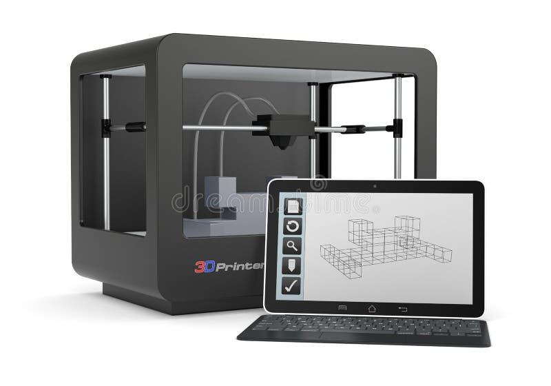 impresión 3D ilustración del vector