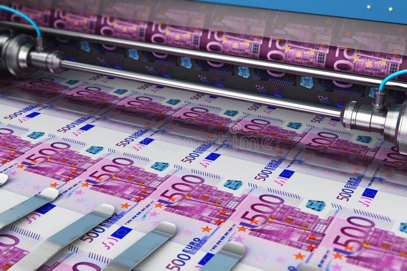 Impresión de 500 billetes de banco euro del dinero libre illustration