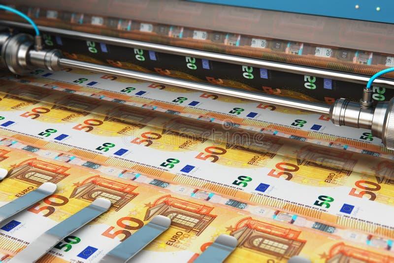 Impresión de 50 billetes de banco euro del dinero ilustración del vector