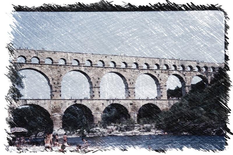 Impresión de carbón vegetal del Pont du Gard, un antiguo puente acuático romano construido en el siglo I d.C. para transportar  ilustración del vector