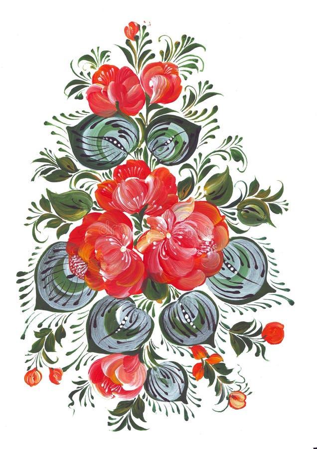 Impresión de Digitaces y ramo del clip art de flores en el estilo ruso Volkhovskaya stock de ilustración