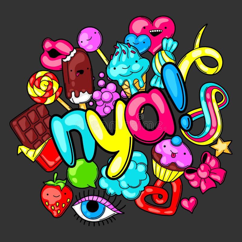 Impresión de Kawaii con los dulces y los caramelos Dulce-materia loca en estilo de la historieta stock de ilustración
