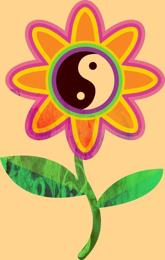 Impresión de la acuarela de la plantilla de un ejemplo de la flor de yang del yin stock de ilustración