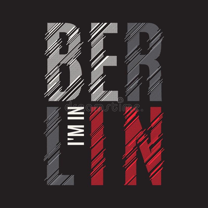 Impresión de la camiseta de Berlín Tipografía de la etiqueta del sello de los gráficos del diseño de la camiseta stock de ilustración