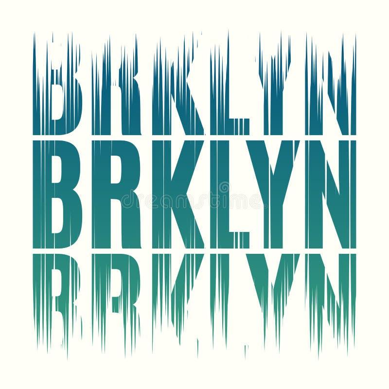 Impresión de la camiseta de Brooklyn Nueva York Etiqueta del sello de los gráficos del diseño de la camiseta stock de ilustración