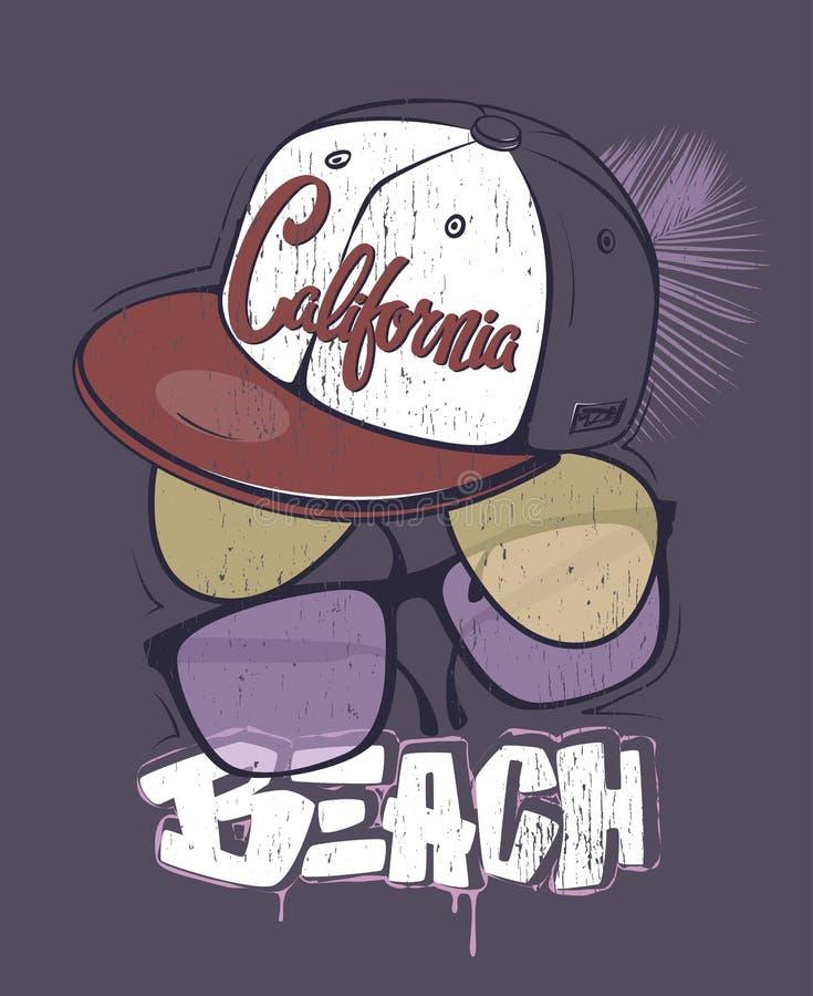 Impresión de la camiseta de la playa de California con los vidrios y el casquillo, ejemplo del vector ilustración del vector