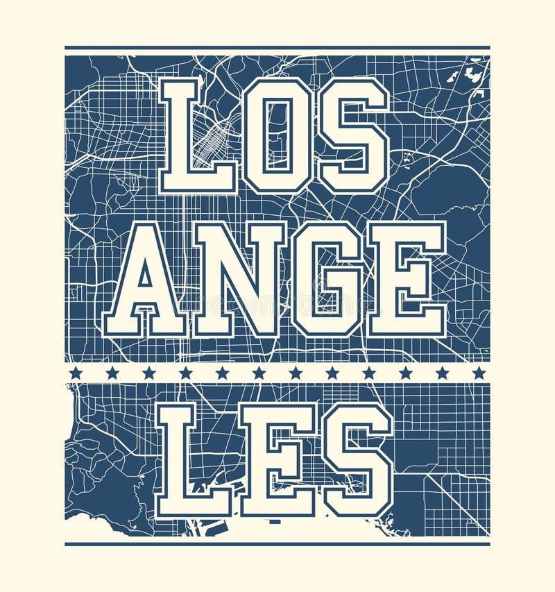 Impresión de la camiseta de Los Ángeles con las calles de la ciudad ilustración del vector