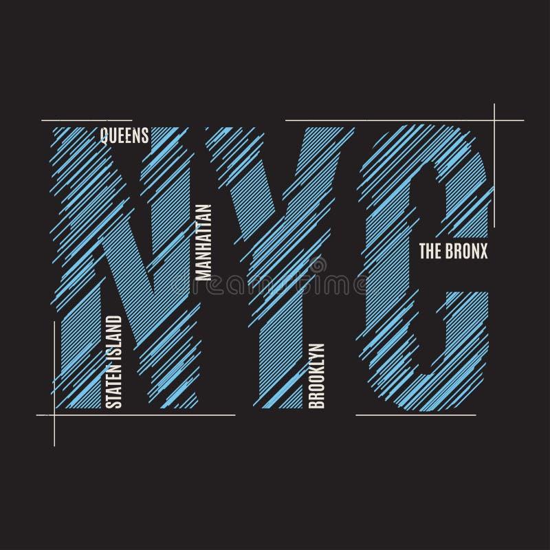 Impresión de la camiseta de Nueva York Typograp de la etiqueta del sello de los gráficos del diseño de la camiseta stock de ilustración