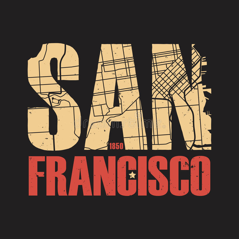Impresión de la camiseta de San Francisco California Ilustración del vector libre illustration