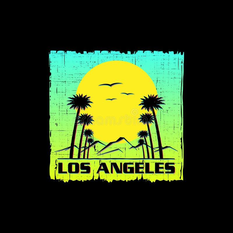 Impresión de la camiseta del grunge del tema de Los Angeles stock de ilustración