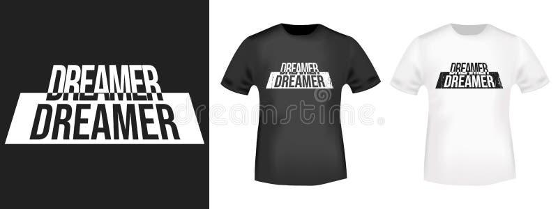 Impresión de la camiseta del soñador stock de ilustración