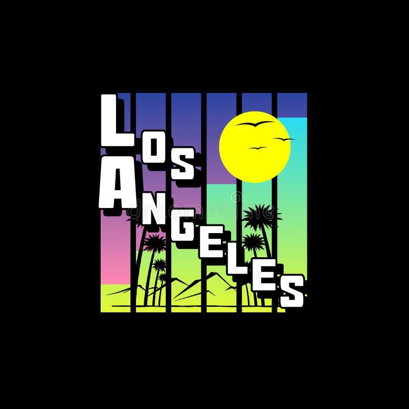 Impresión de la camiseta del tema de Los Angeles stock de ilustración