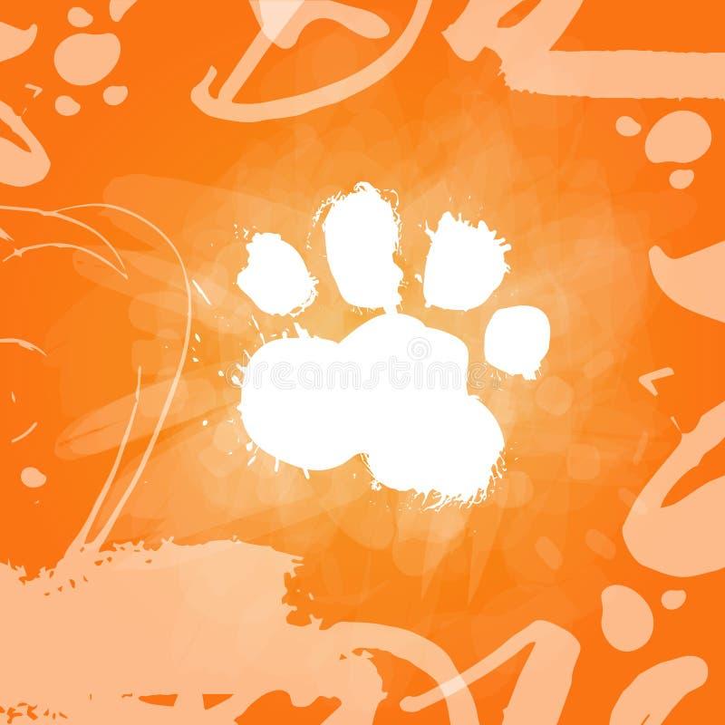 Impresión de la comida de perro del Grunge sobre símbolo anaranjado del zodiaco del fondo de 2018 Años Nuevos libre illustration