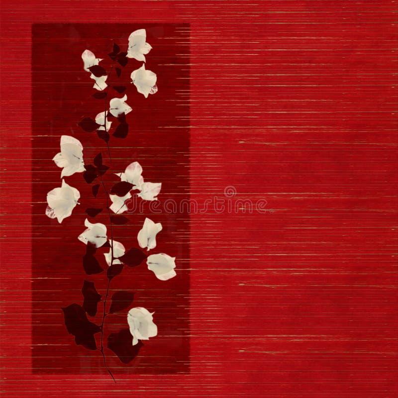 Impresión de la flor en la madera roja manchada imagenes de archivo