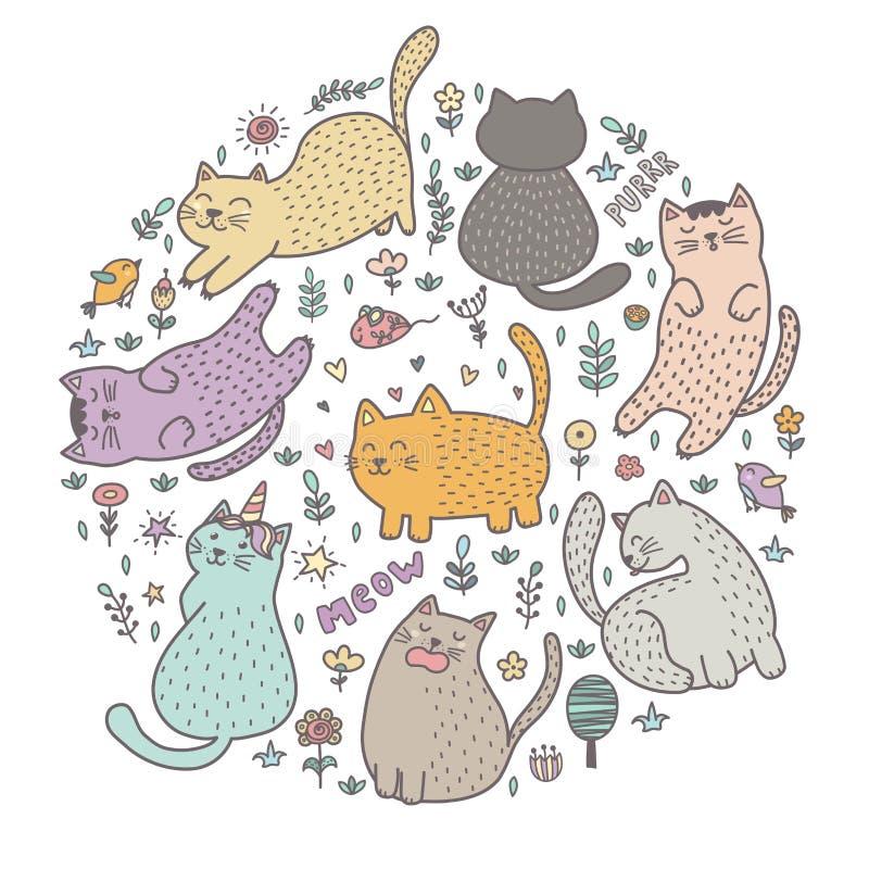 Impresión de la forma del círculo con los gatos lindos stock de ilustración