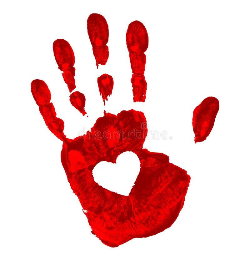 Impresión de la mano con el icono del corazón stock de ilustración