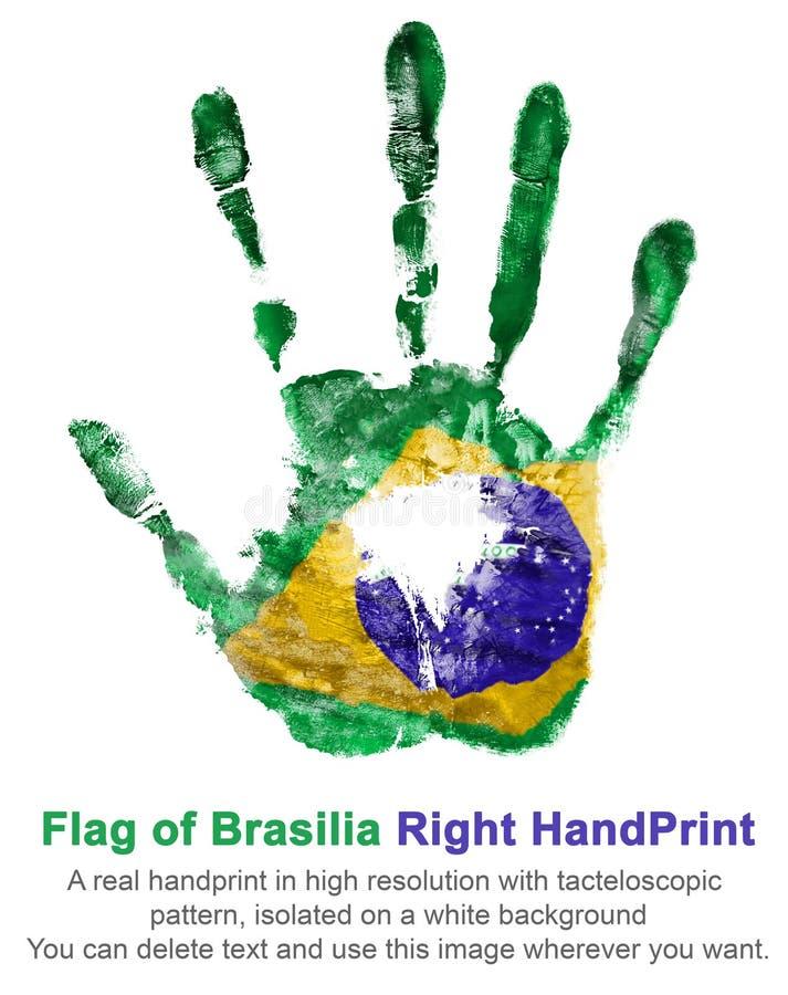 Impresión de la mano derecha los colores de la bandera brasileña en un fondo blanco stock de ilustración