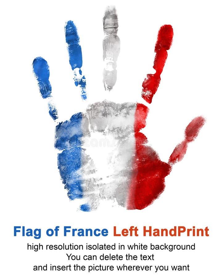 Impresión de la mano izquierda en color de la bandera de Francia aislada en el fondo blanco fotos de archivo