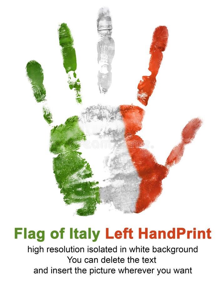 Impresión de la mano izquierda en color de la bandera de Italia aislada en el fondo blanco stock de ilustración