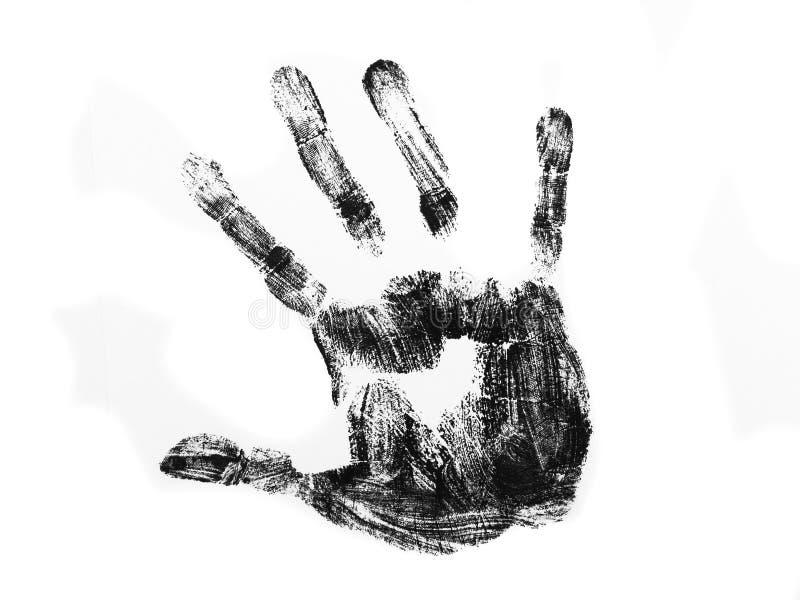 Impresión de la mano negra imagen de archivo libre de regalías