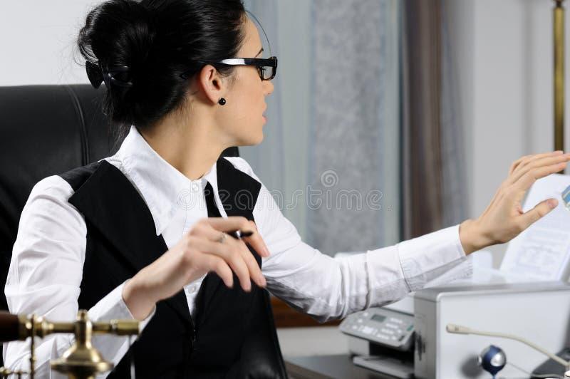 Impresión de la mujer del encargado fotos de archivo libres de regalías