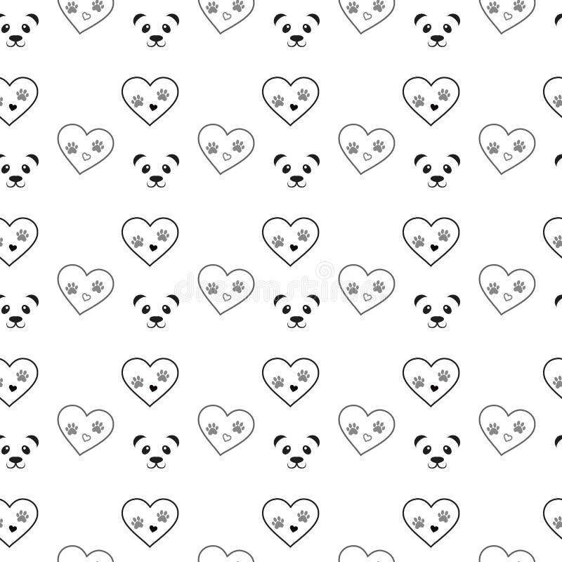 Impresión de la pata del perro en modelo inconsútil del corazón y de la panda Los rastros de Cat Textile alinean el modelo negro  stock de ilustración