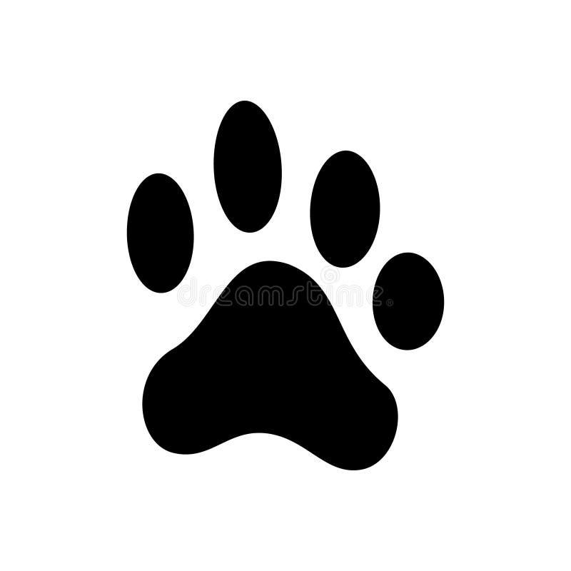 Impresión de la pata del perro, huella de los animales domésticos, silueta negra stock de ilustración