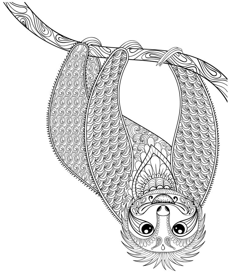 Impresión de la pereza del zentangle del vector para la página adulta del colorante Mano drenada stock de ilustración